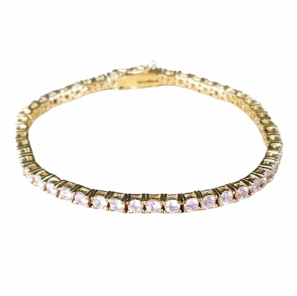 Vintage .925 Pink Cubic Zirconia Tennis Bracelet